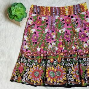 Cabi Ashbury Floral Pleated Skirt Pockets 933